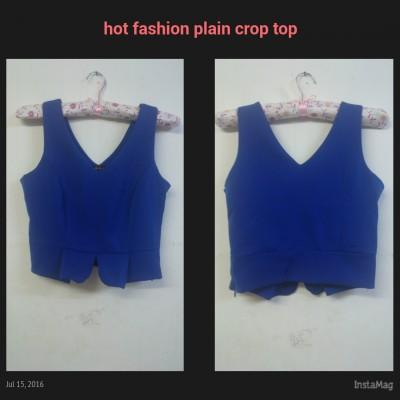 Hot fashion plain blue crop top (Instock)